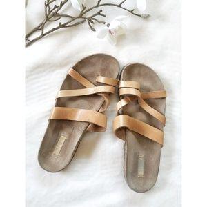 Schutz Footbed Beige Leather Sandals 6